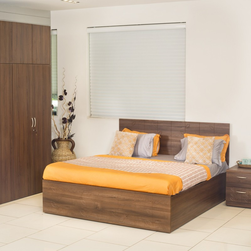 Godrej Interio Viva Engineered Wood King Bed With Storage(Finish Color - Cincinnati Walnut)