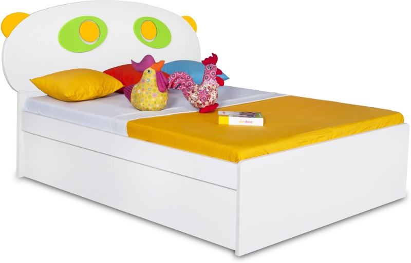 Alex Daisy Panda Engineered Wood Single Bed With Storage(Finish Color - Yellow - Green - White)