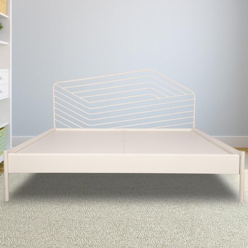 Godrej Interio Liva Illusion Metal Queen Bed(Finish Color - White)