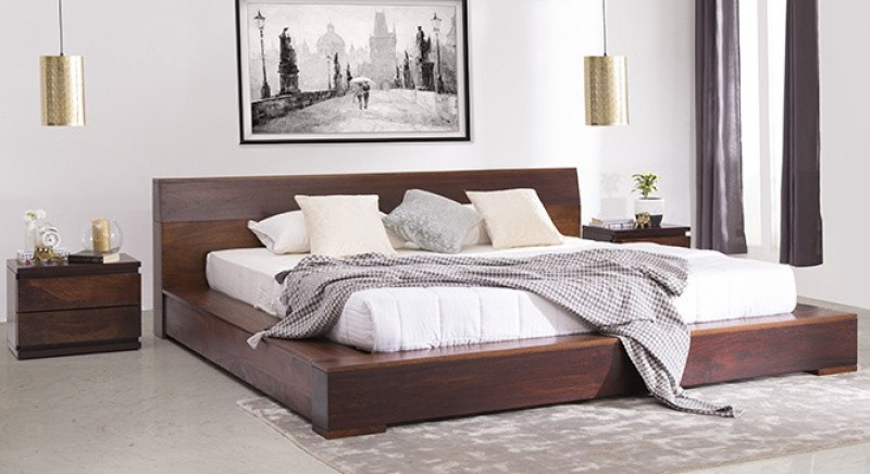 Urban Ladder Duetto Solid Wood Queen Bed(Finish Color - Two Tone)