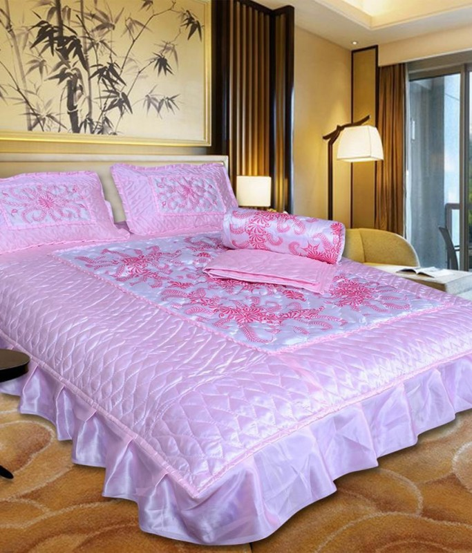 Chelsi Satin Bedding Set(Pink)