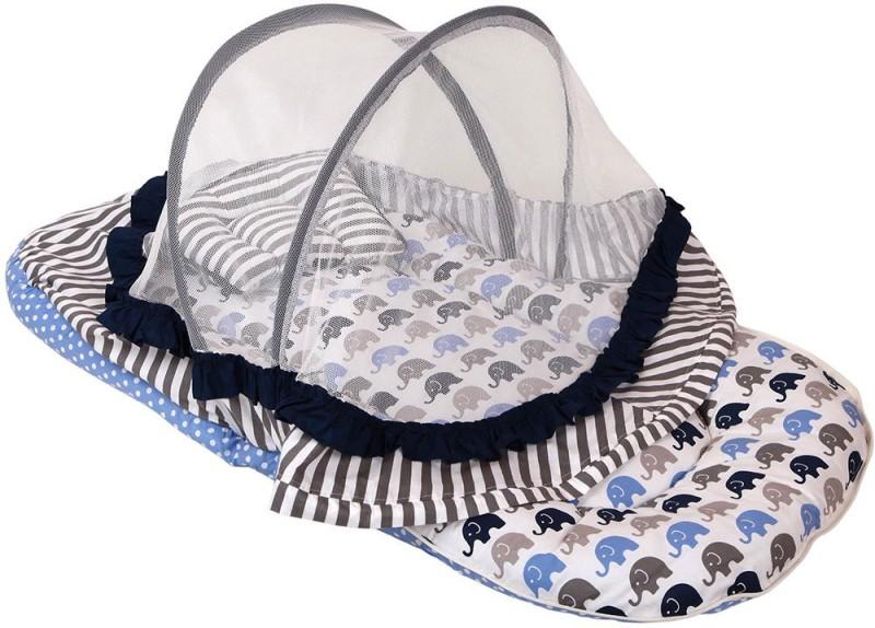 Bacati Velcro Cotton Bedding Set(Blue, Grey)