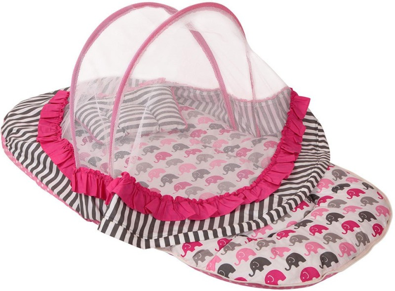 Bacati Velcro Cotton Bedding Set(Pink, Grey)