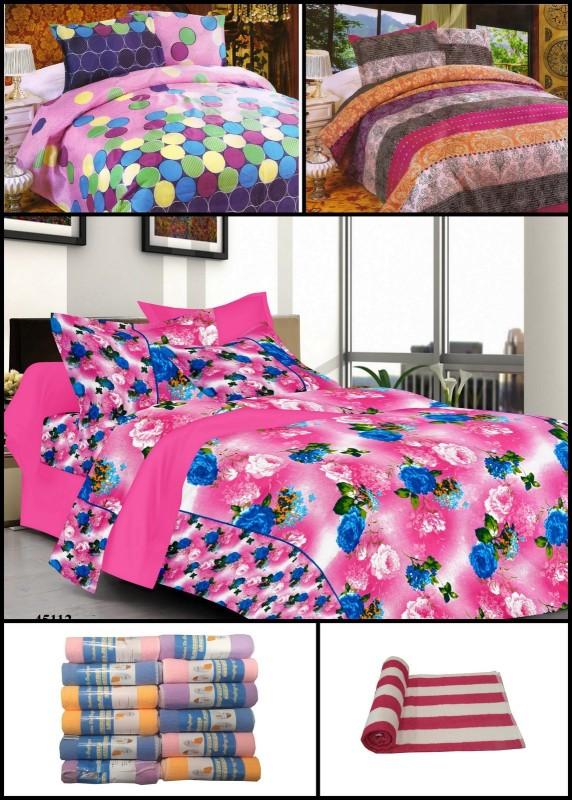 Welhouse India Polycotton Bedding Set(Multicolor) Furnishing Combo