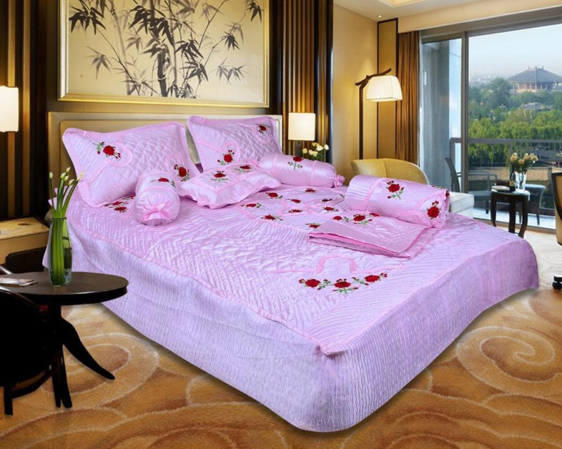 Urban Style Ethnic Raw Silk Bedding Set(Pink)