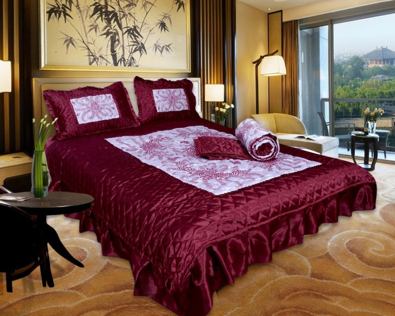 El Sandalo Ethnic Raw Silk Bedding Set(Maroon)