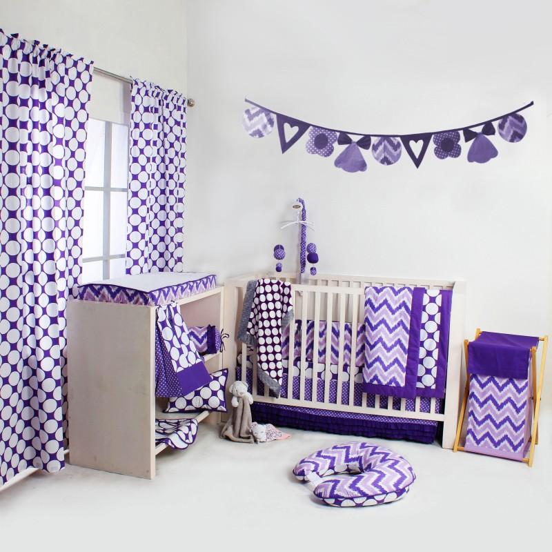 Bacati Cotton Bedding Set(Purple)
