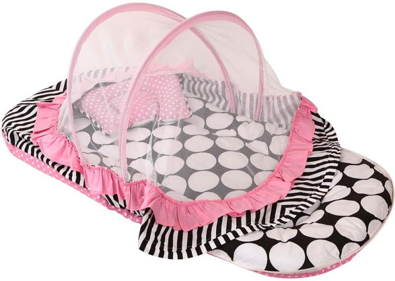 Bacati Velcro Cotton Bedding Set(Pink, Black)