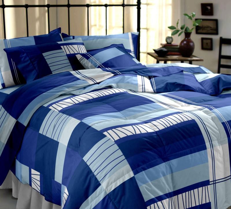 Dreamscape 144 TC Cotton Double Geometric Bedsheet(Pack of 1, Blue)