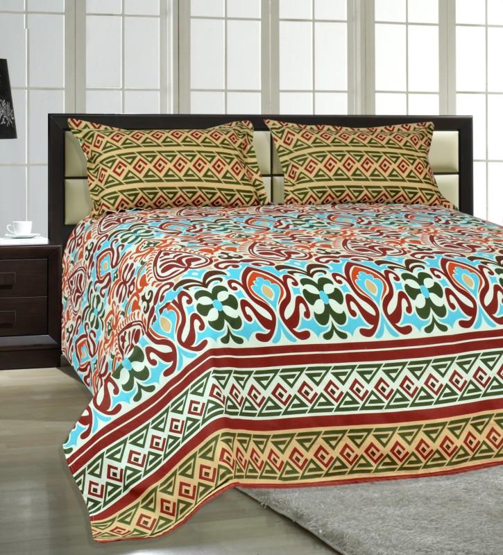 Salona Bichona 104 TC Cotton Double Printed Bedsheet(1 Double Bedsheet, 2 Pillow covers, Multicolor)