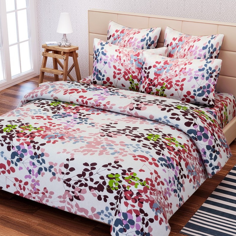 SEJ by Nisha Gupta 144 TC Cotton Double Floral Bedsheet(Pack of 1, Multicolor)