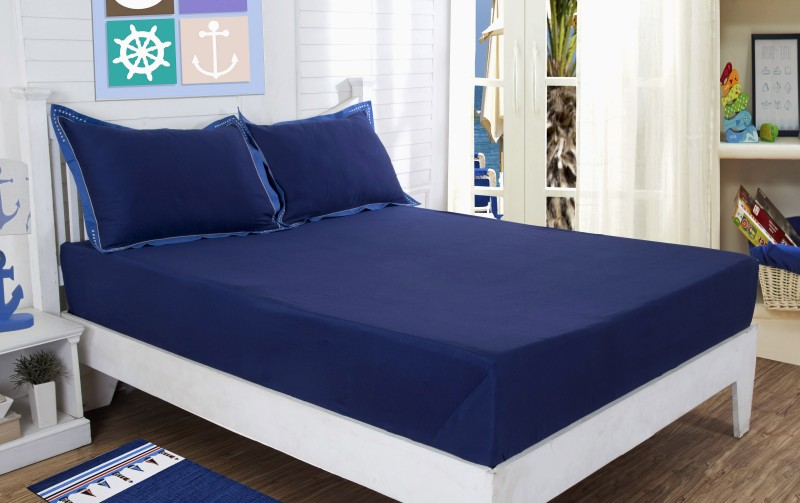 Maspar 210 TC Cotton Double Plain Bedsheet(Pack of 1, Blue)