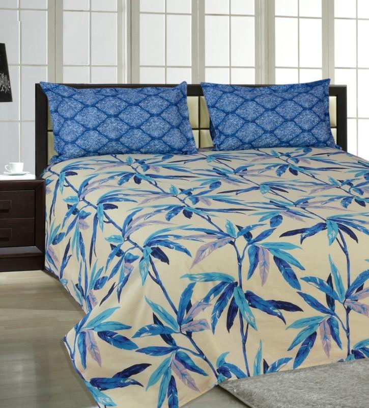 Salona Bichona 144 TC Cotton Double Floral Bedsheet(1 Double Bedsheet, 2 Pillow covers, White)