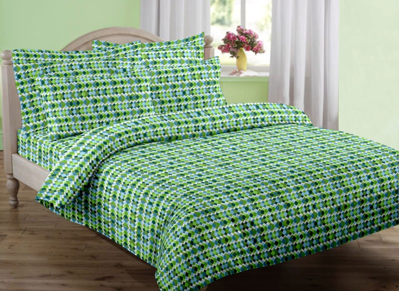Swaas 150 TC Cotton Single Floral Bedsheet(1 Bedsheet 1 Pillow Cover, Green)
