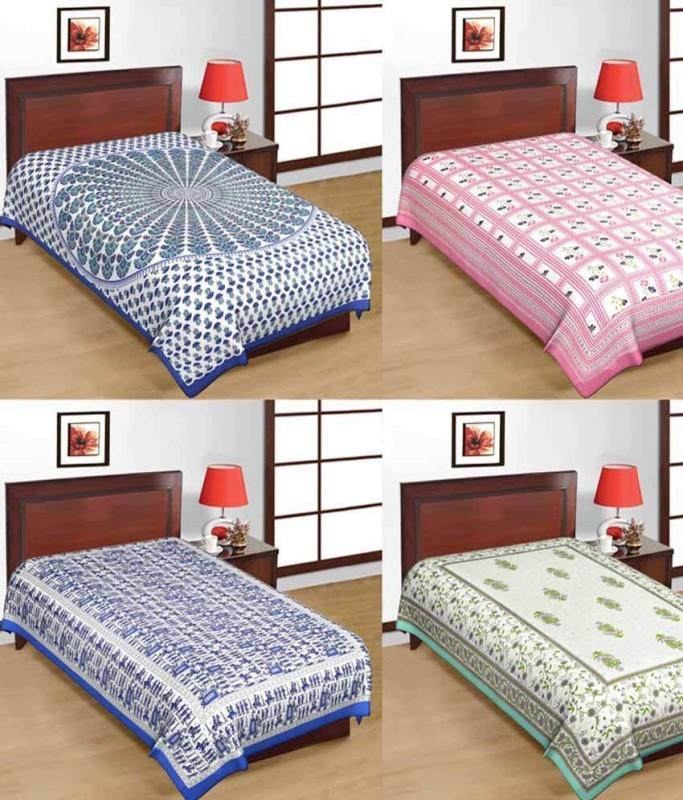 Sonal Textiles Cotton Single Printed Bedsheet(4 bedsheet, Multicolor)