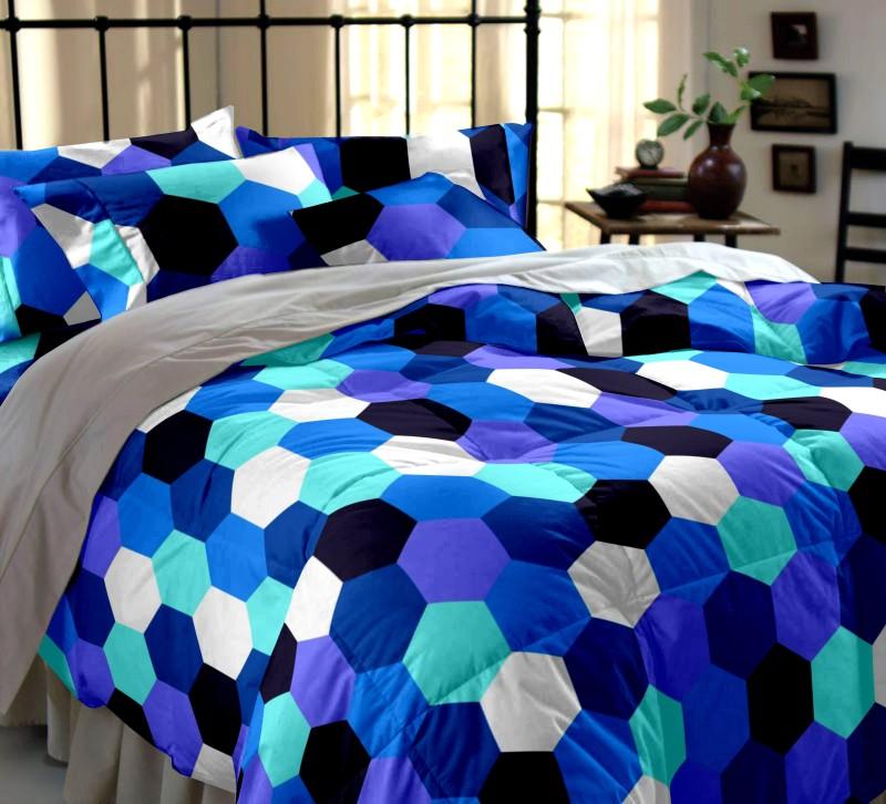 Dreamscape 144 TC Cotton Double Printed Bedsheet(1 Bedsheet, 2 Pillow Covers, Blue)