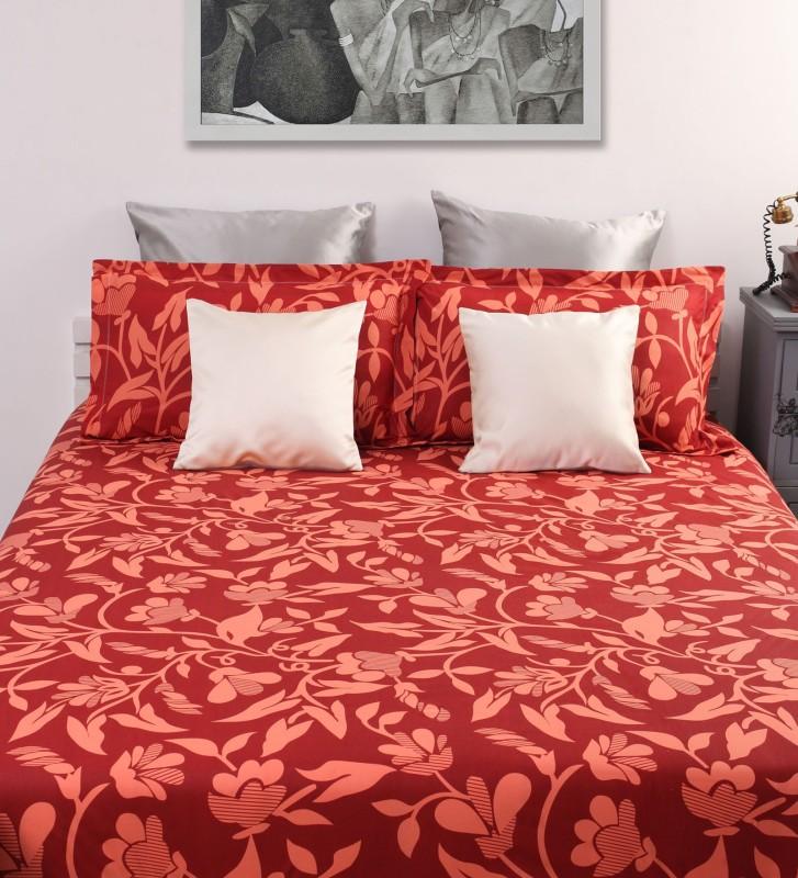 Dreamscape 144 TC Cotton Double Floral Bedsheet(1 Bedsheet, 2 Pillow Covers, Red)
