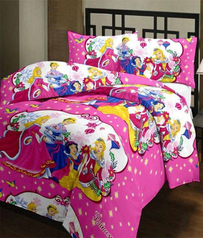 Comfort Home Polyester Single Printed Bedsheet(1pc single bed sheet, 1pc pillow cover, Multicolor)