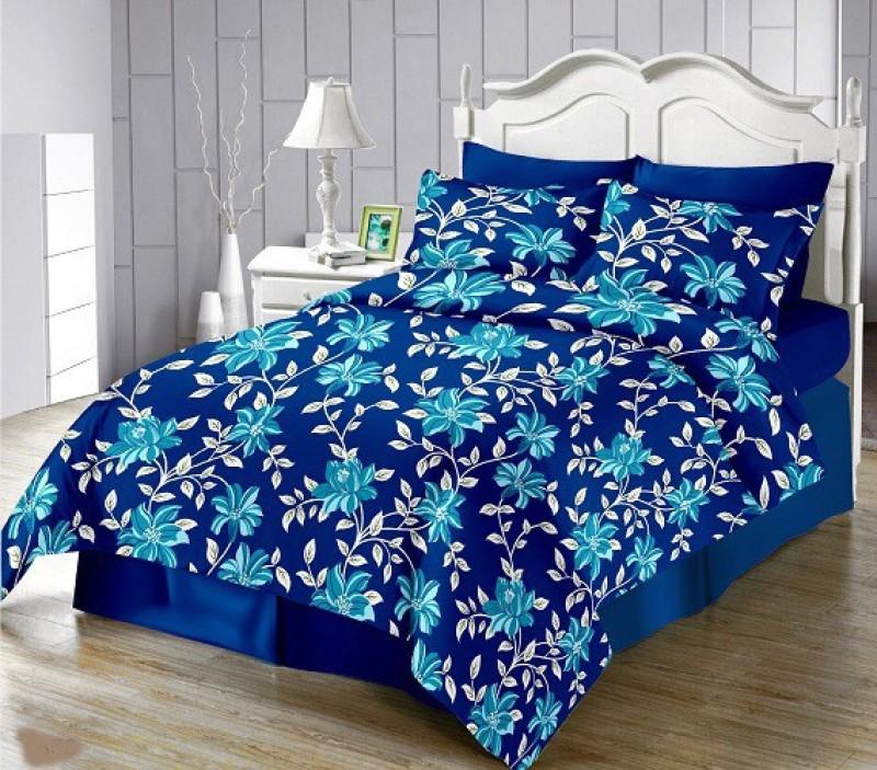The Intellect Bazaar 150 TC Cotton Double King Printed Bedsheet(1 King Cotton Bedsheet, 2 Pillow Cover, Blue)