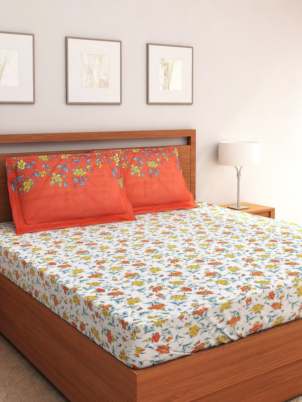 Portico New York 144 TC Cotton Double Abstract Bedsheet(1 Double Bedlinen, 2 Pillow Covers, Multicolor)