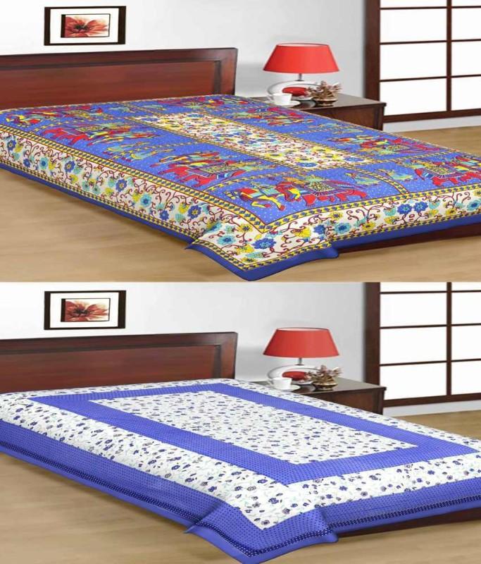 Sonal Textiles 250 TC Cotton Single Printed Bedsheet(2 bedsheet, Multicolor)