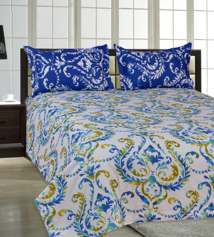 Salona Bichona 144 TC Cotton Double Abstract Bedsheet(1 Double Bedsheet, 2 Pillow covers, Multicolor)