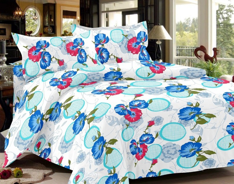 India Furnish 144 TC Cotton Double Floral Bedsheet(Pack of 1, Blue)