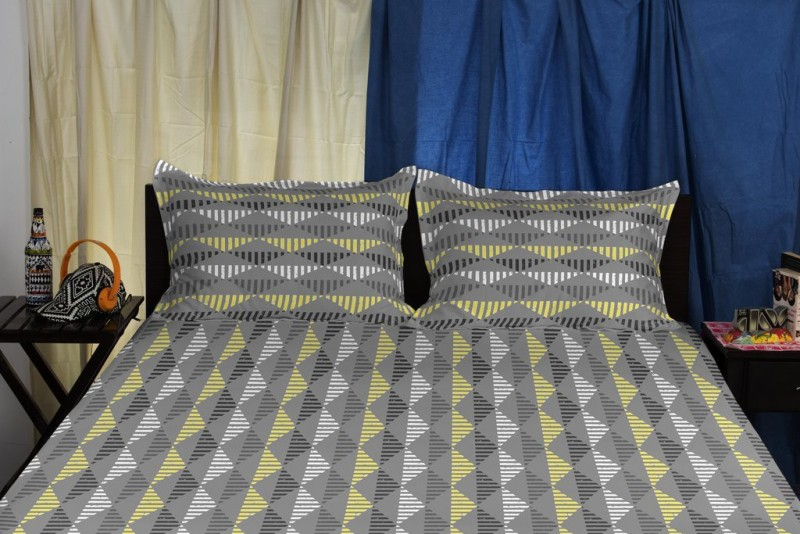 SPACES Cotton Double King Abstract Bedsheet(1 Double Bedsheet, Grey)