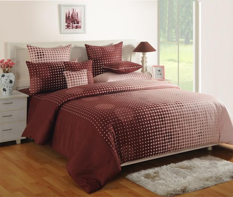 Swayam 180 TC Cotton, Satin Single Geometric Bedsheet(1 Single Bedsheet and 1 Pillow Cover, Choclate, White)