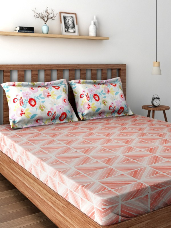 SPACES 144 TC Cotton Double Geometric Bedsheet(1 Bedsheet, Peach)