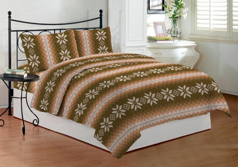 Bombay Dyeing 144 TC Cotton Double Striped Bedsheet(1 Double Bedsheet, 2 Pillow Covers, Brown)