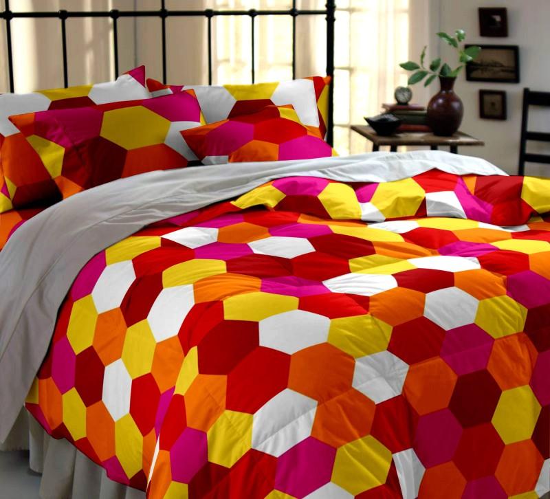 Dreamscape 144 TC Cotton Double Geometric Bedsheet(1 Bedsheet, 2 Pillow Cover, Multicolor)