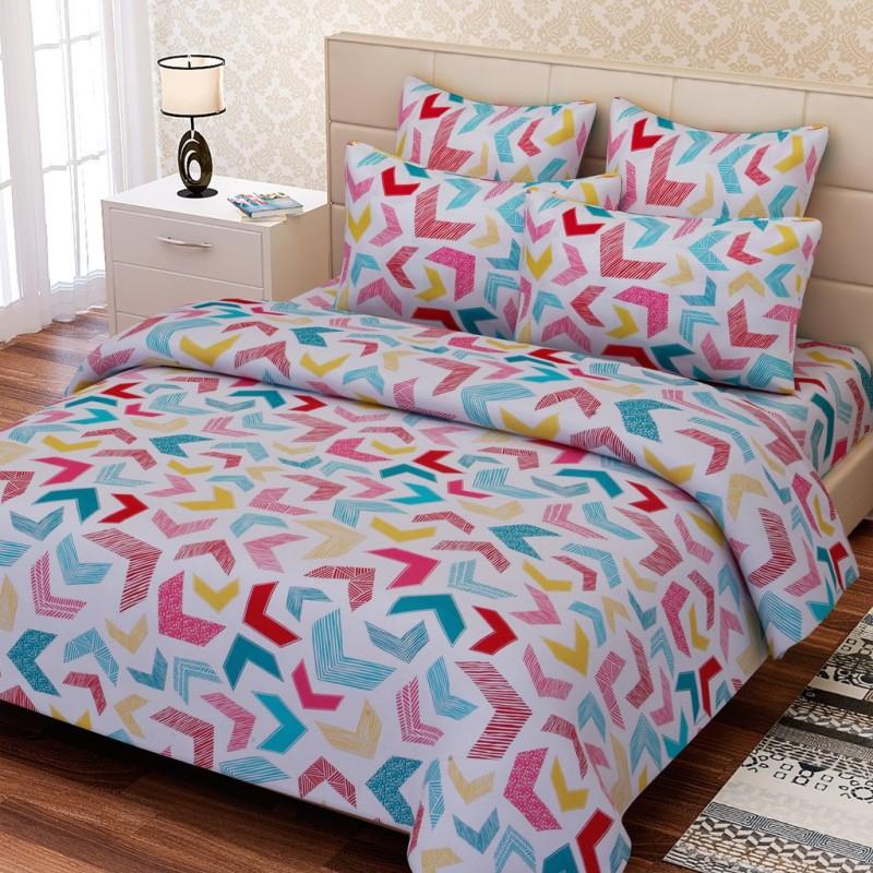 SEJ by Nisha Gupta 144 TC Cotton Double Geometric Bedsheet(1 Bedsheet, 2 Pillow Covers, Multicolor)