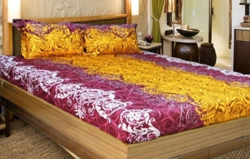 Snuggle Cotton Double Floral Bedsheet(1 Queen Bedsheet, 2 Pillow Covers, Maroon, Yellow)