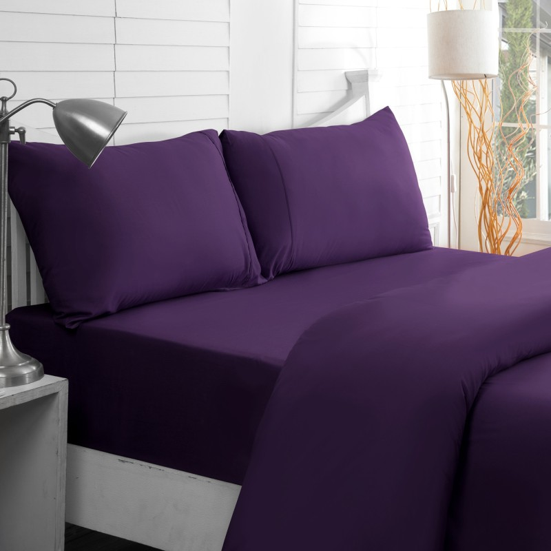 Maspar 200 TC Cotton Double King Plain Bedsheet(Pack of 1, Purple)