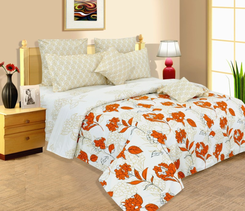 Salona Bichona 144 TC Cotton Double Floral Bedsheet(1 Double Bedsheet, 2 Pillow covers, Yellow)