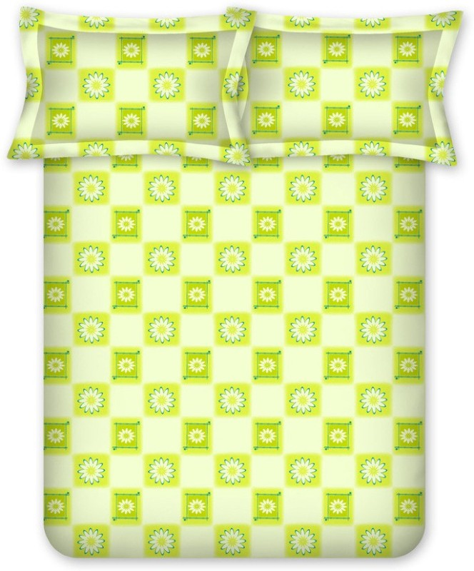 Bombay Dyeing Cotton Double Floral Bedsheet(Pack of 1, Green)
