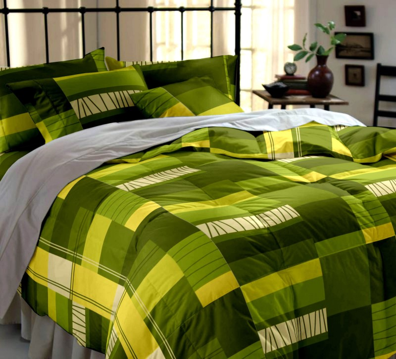 Dreamscape Cotton Double Geometric Bedsheet(Pack of 1, Green)