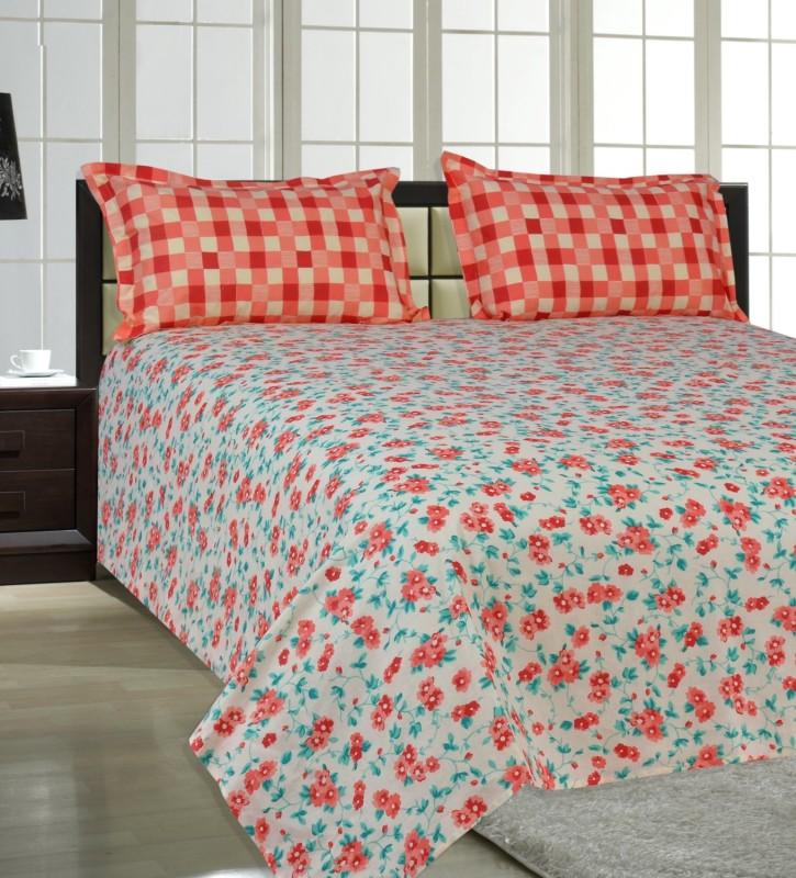 Salona Bichona 144 TC Cotton Double Floral Bedsheet(1 Double Bedsheet, 2 Pillow Covers, Orange)