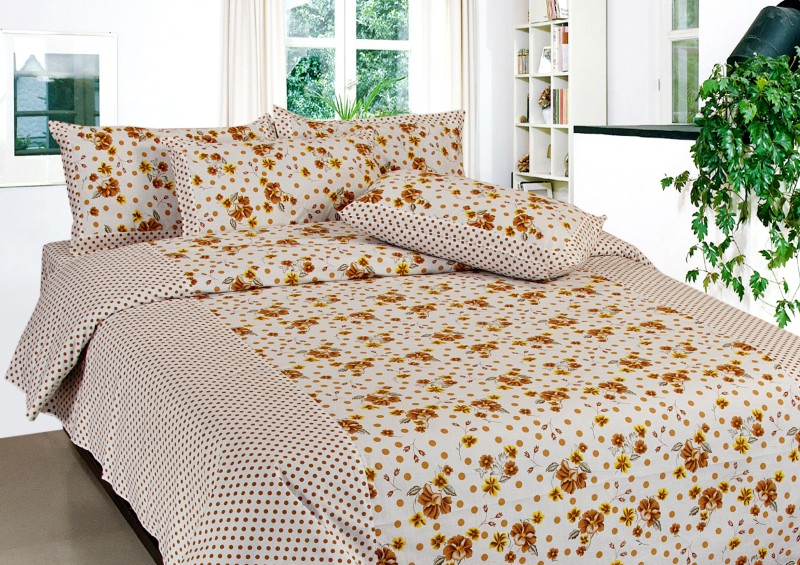Optimistic Home Furnishing 160 TC Cotton Double Floral Bedsheet(1 Double Bedsheet, 2 Pillow Covers, Brown)