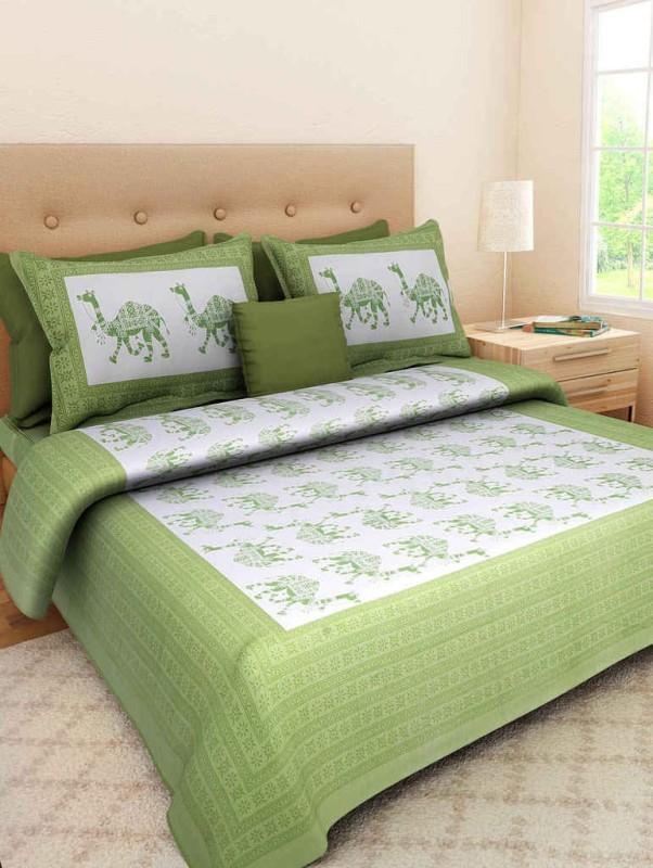 Kismat Bedding Collection Cotton Printed Double Bedsheet(1 bedsheet, 2 pillow cover, Multicolor)