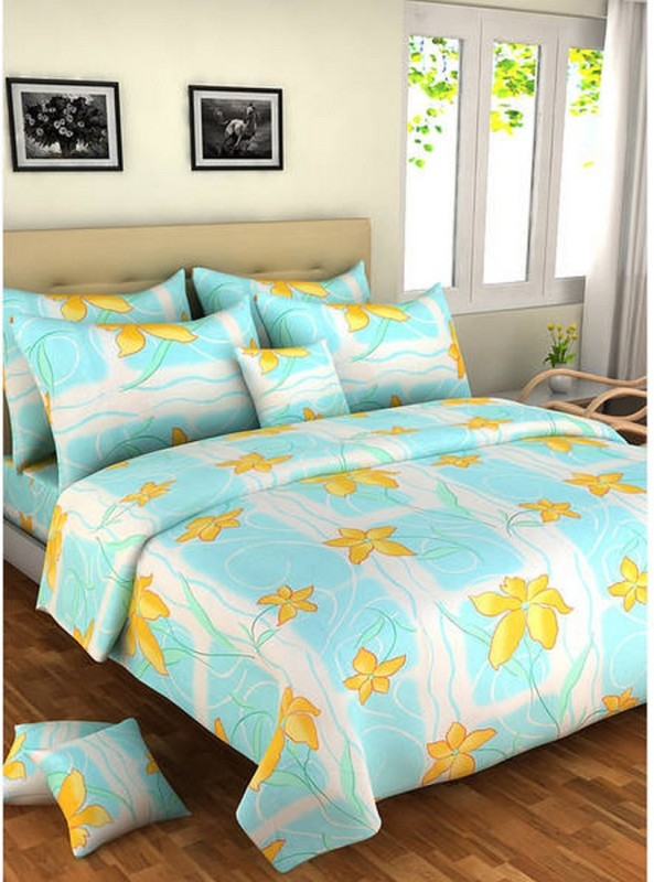 Bombay Dyeing Cotton Double Printed Bedsheet(Pack of 1, Blue)