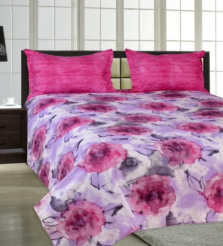 Salona Bichona 144 TC Cotton Double Floral Bedsheet(1 Double Bedsheet, 2 Pillow covers, Multicolor)