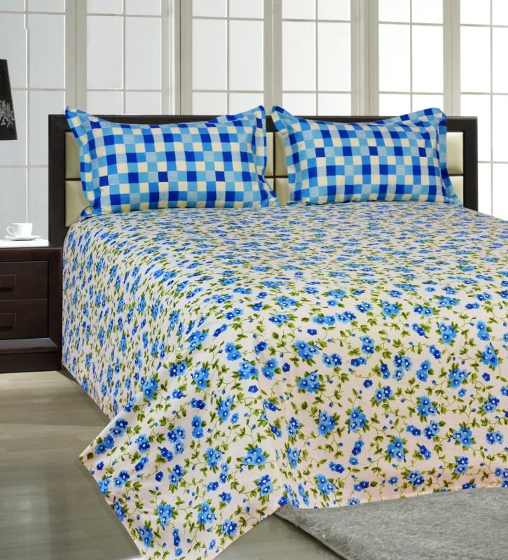 Salona Bichona 144 TC Cotton Double Floral Bedsheet(1 Double Bedsheet, 2 Pillow Covers, Blue)