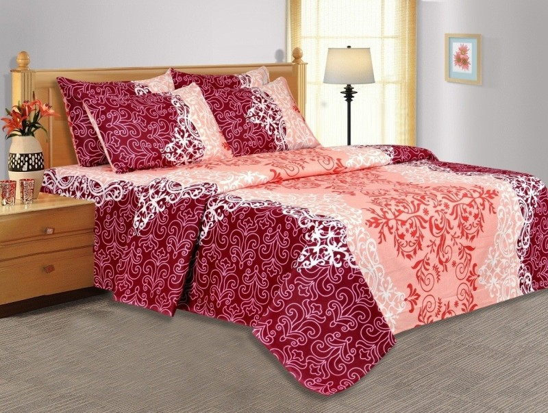 Salona Bichona 104 TC Cotton Double Abstract Bedsheet(1 Double Bedsheet, 2 Pillow covers, Pink)