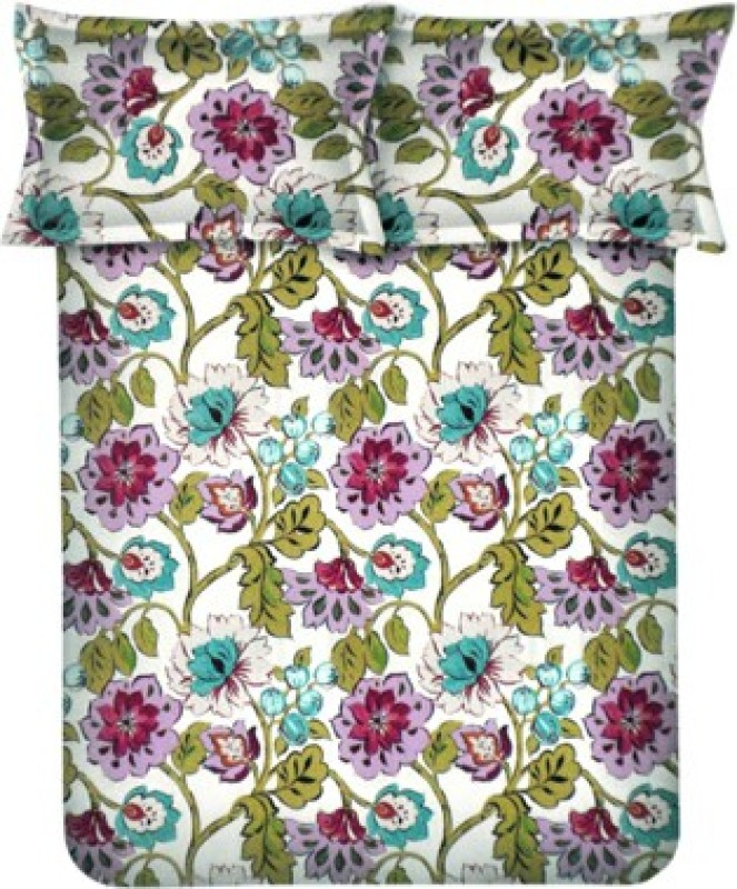Bombay Dyeing Polycotton Double Floral Bedsheet(1 Bed Sheet, 2 Pillow Covers, Pink)