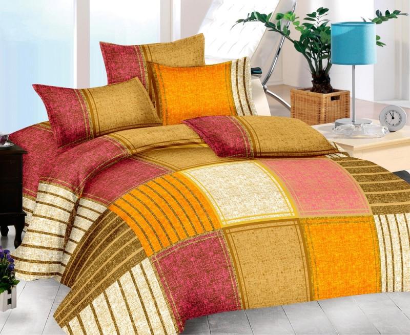The Intellect Bazaar 150 TC Cotton Double King Geometric Bedsheet(1 King Bedsheet,2 Pillow Covers, Multicolor)