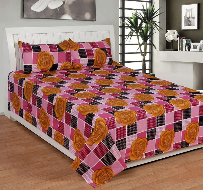 BSB Trendz Cotton Double Printed Bedsheet(Double Bedsheet, 2 Pillow Covers, Multicolor)