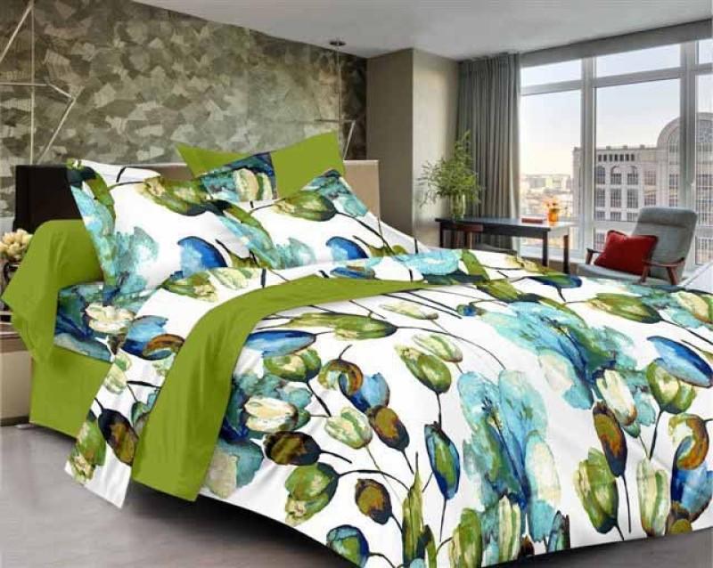 SEJ by Nisha Gupta 200 TC Cotton Double Floral Bedsheet(1 Bedsheet, 2 Pillow Covers, Multicolor)