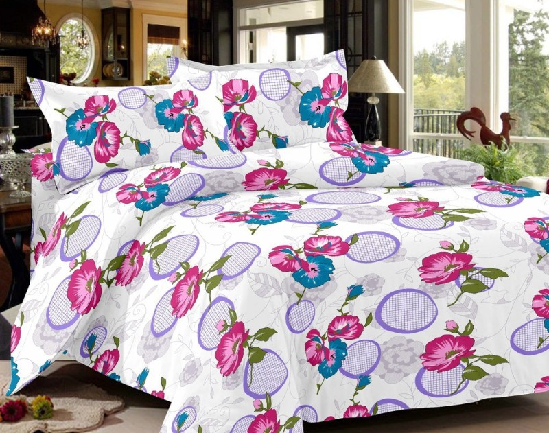 India Furnish 144 TC Cotton Double Floral Bedsheet(Pack of 1, Purple)